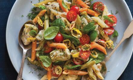 Tri-Color Pasta with Tuna, Spinach and Artichoke Hearts