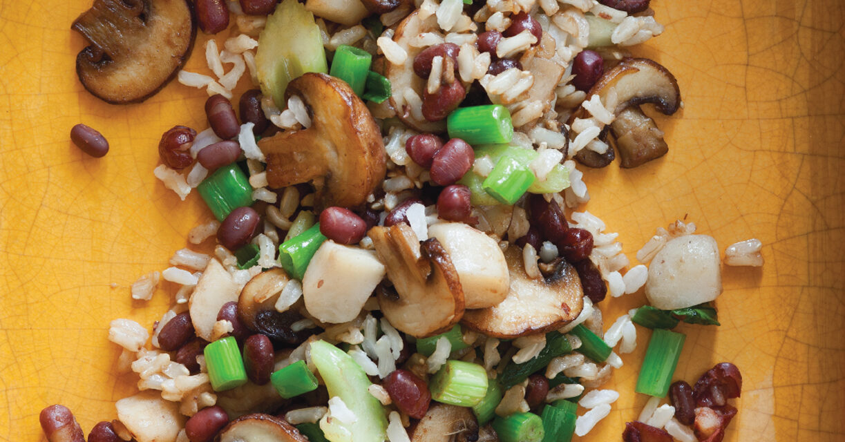 Adzuki Beans and Brown Rice with Mushrooms and Water Chestnuts
