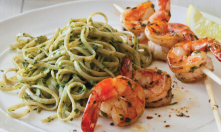 Herb-Grilled Shrimp Skewers with Avocado Linguini