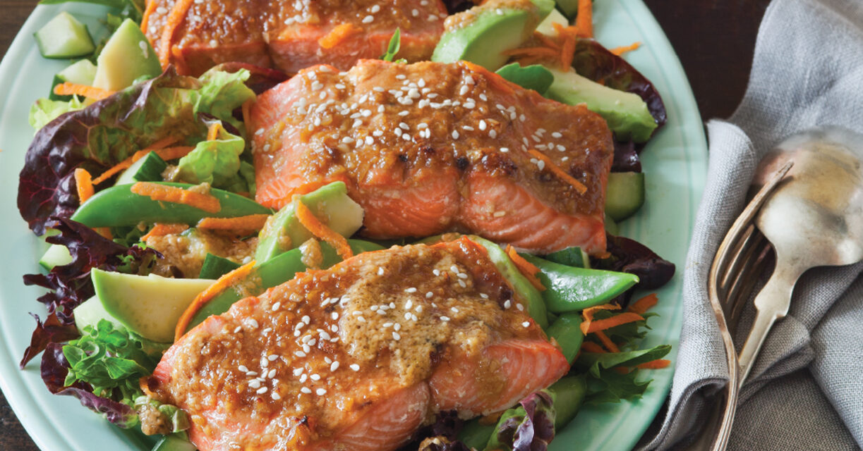 Miso Soy Broiled Salmon with Salad Greens and Snap Peas