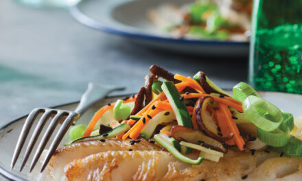 Rex Sole with Gingered Petite Vegetables and Shiitake Mushrooms
