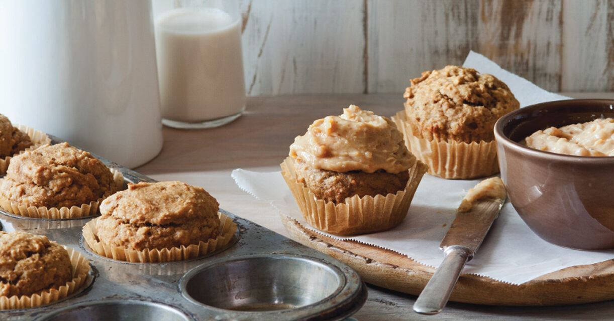 Banana Cupcakes with Peanut Butter Yogurt Frosting