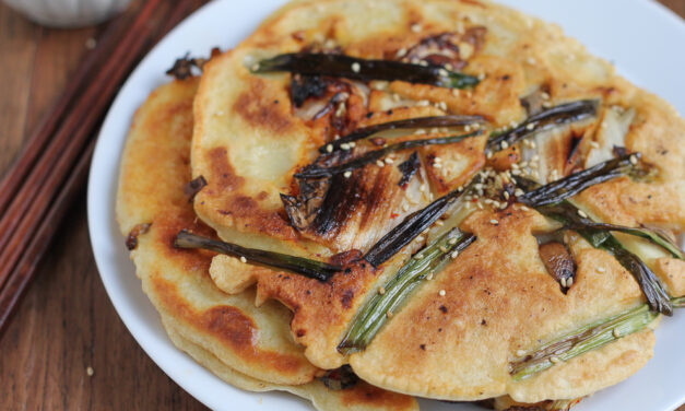 Korean Pancakes with Kimchi and Scallions