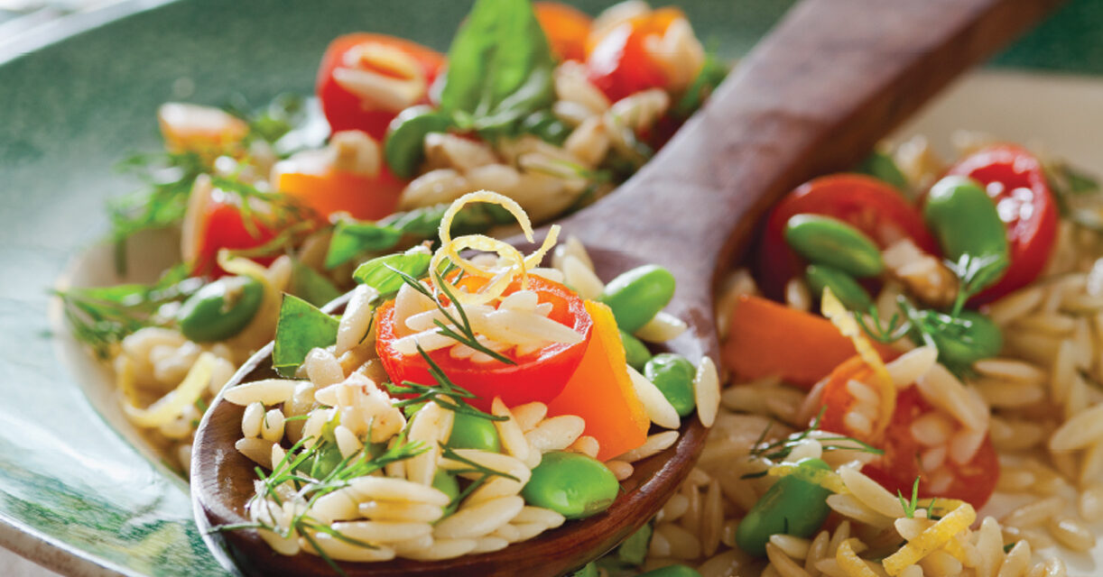 Lemon Orzo with Edamame, Orange Peppers and Cherry Tomatoes