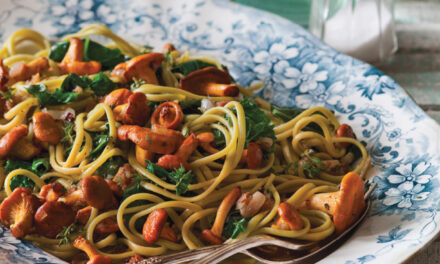 Spinach Fettuccini with Golden Chanterelles and Lacinato Kale
